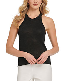 DKNY Sleeveless Metallic Sweater