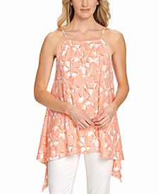 Printed Asymmetric Sleeveless Top