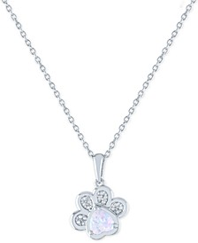 "Lab-Created Opal (5mm) and Diamond Accent Paw Print Pendant Necklace in Sterling Silver, 16"" + 2"" extender"