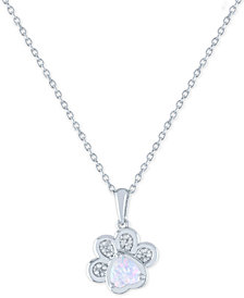 """Lab-Created Opal (5mm) and Diamond Accent Paw Print Pendant Necklace in Sterling Silver, 16"""" + 2"""" extender"""