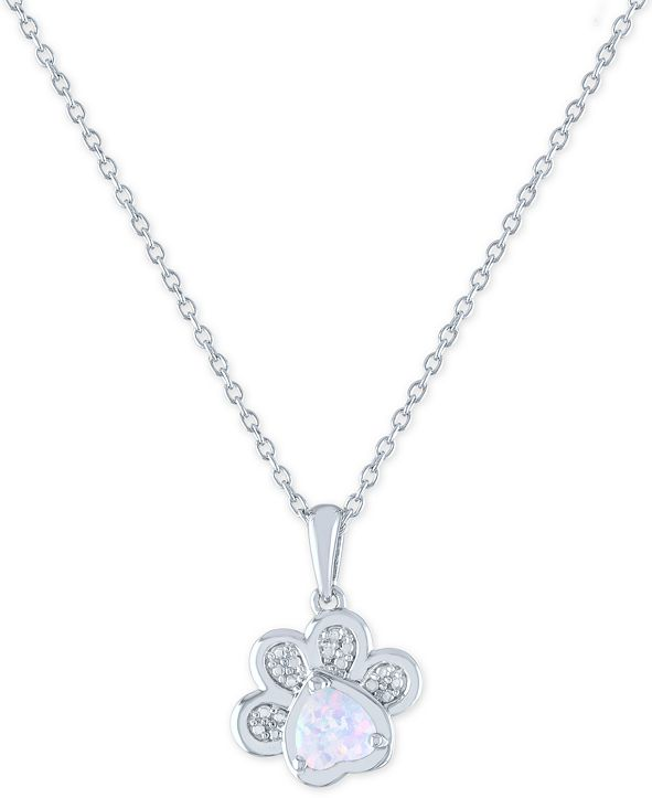 """Macy's Lab-Created Opal (5mm) and Diamond Accent Paw Print Pendant Necklace in Sterling Silver, 16"""" + 2"""" extender"""