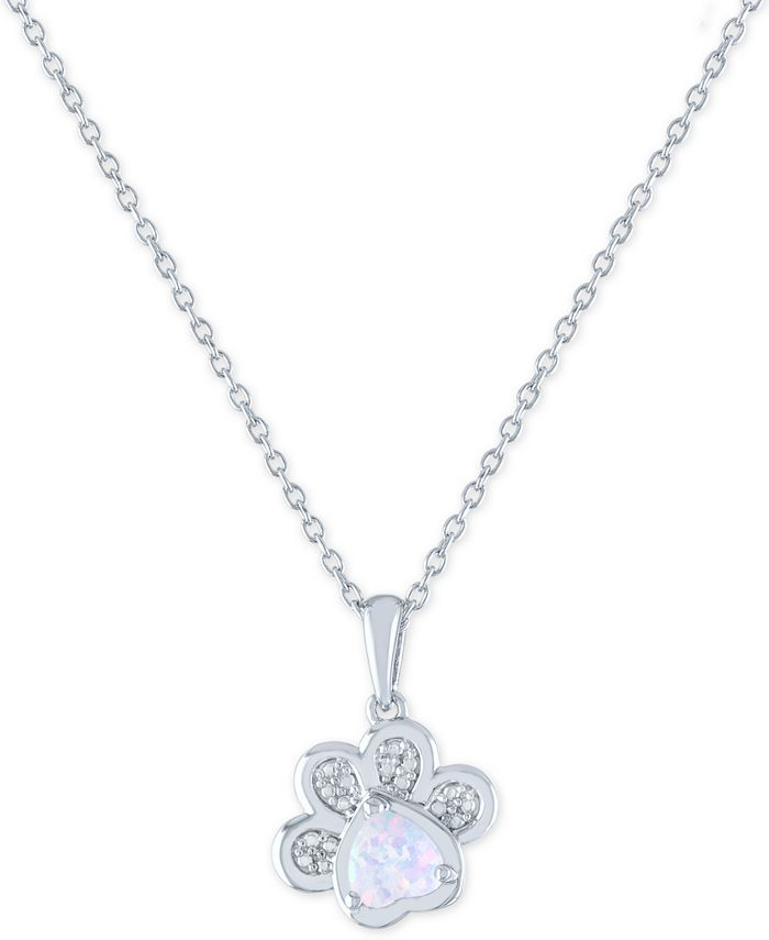 """Macy's - Lab-Created Opal (5mm) and Diamond Accent Paw Print Pendant Necklace in Sterling Silver, 16"""" + 2"""" extender"""