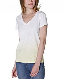Juniors' V-Neck Dip-Dyed T-Shirt