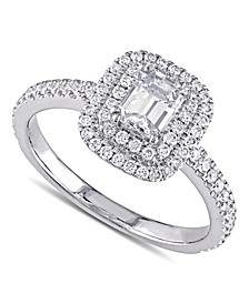 Diamond Emerald-Cut Double Halo Engagement Ring (1 ct. t.w.) in 14k White Gold