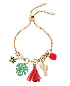 Gold-Tone Metal Palm Mixed Charm Friendship Bracelet
