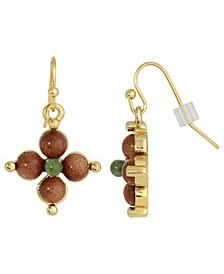 Gold-Tone Semi Precious Gold Stone and Aventurine Drop Earrings