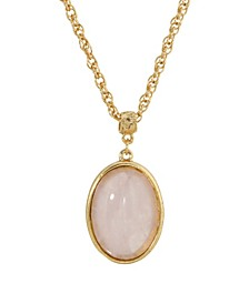 14K Gold Plated Semi Precious Rose Quartz Oval Pendant Necklace