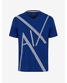 Men's Short Sleeve Abstract AX Striped Logo T-Shirt