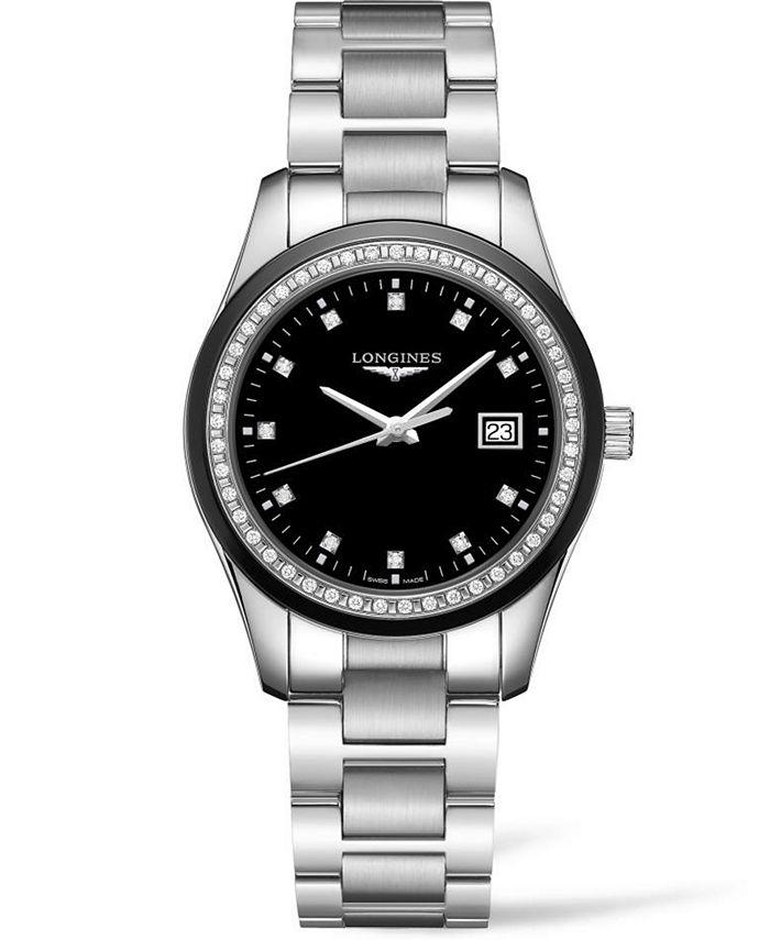 Longines - Women's Swiss Conquest Classic Diamond (3/8 ct. t.w.) Ceramic & Stainless Steel Bracelet Watch 36mm