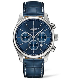 Men's Swiss Automatic Chronograph Master Colleciton Blue Alligator Leather Strap Watch 44mm