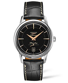 Men's Swiss Automatic Flagship Heritage Black Leather Strap Watch 39mm