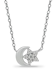 "Cubic Zirconia Moon & Star Pendant Necklace in Sterling Silver, 16"" + 2"" extender, Created for Macy's"
