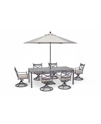 """Montclaire Outdoor 7-Pc. Dining Set (84"""" x 42"""" Dining Table and 6 Swivel Chairs) with Sunbrella® Cushions, Created for Macy's"""