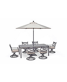 "Montclaire Outdoor 7-Pc. Dining Set (84"" x 42"" Dining Table and 6 Swivel Chairs) with Sunbrella® Cushions, Created for Macy's"