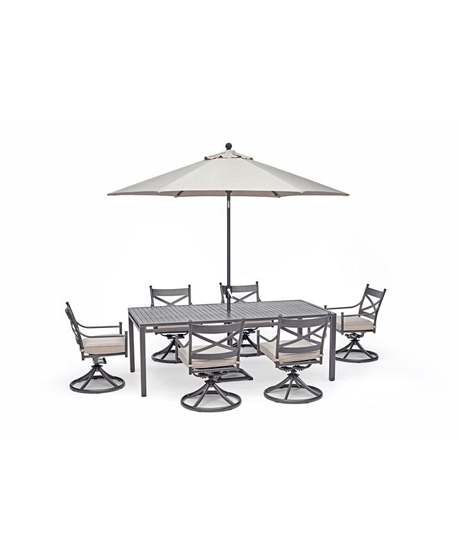 """Furniture Montclaire Outdoor 7-Pc. Dining Set (84"""" x 42"""" Dining Table and 6 Swivel Chairs) with Sunbrella® Cushions, Created for Macy's"""