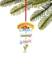 """At the Beach """"Beach Rules"""" Sign Ornament, Created for Macy's"""