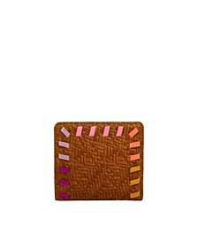 Women's Logan Small Bifold Vintage-Like Saddle Woven Emboss with Bright Piping