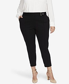 Women's Plus 2 Pocket Ponte Pant with Front Seam and Button