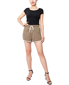 Juniors' Cotton Knit Contrast-Trim Shorts
