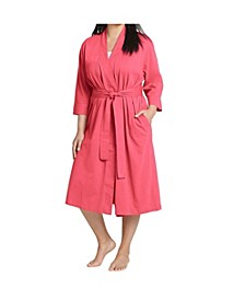 Plus Size Long Cotton Wrap Robe