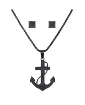 Stainless Steel Black Tone Anchor Pendant and Square Cubic Zirconia Earring Set