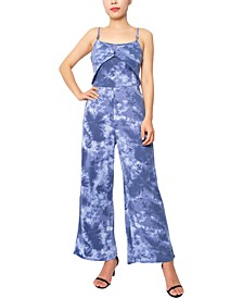 Juniors' Printed Wide-Leg Jumpsuit