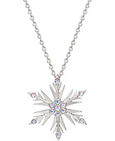 """Disney's Frozen Crystal Snowflake Pendant Necklace in Sterling Silver, 18"""" + 2"""" extender"""