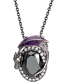 """Disney's Maleficent Crystal Dragon 20"""" Pendant Necklace in Black Rhodium-Plated Sterling Silver"""
