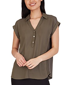 Juniors' Collared V-Neck Top