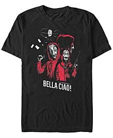 Men's La Casa De Papel Bella Ciao Masked Zeppelin Group Short Sleeve T-Shirt