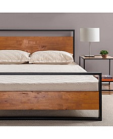 Suzanne Metal and Wood Platform Bed with Headboard and Footboard, King