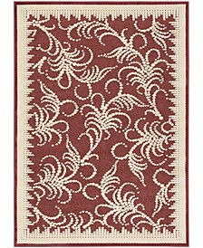 """Fountain Swirl MSR4449C Red and Ivory 4' x 5'7"""" Area Rug"""