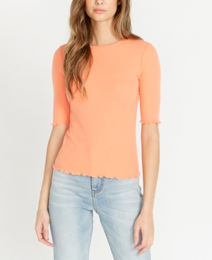 Buffalo David Bitton Judith Crew Neck Elbow Sleeve Ribbed Top