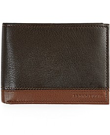 Men's Colorblocked Leather Passcase Wallet