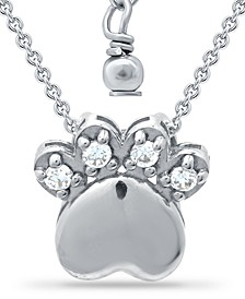 "Cubic Zirconia Paw Print Pendant Necklace in Sterling Silver, 16"" + 2"" extender, Created for Macy's"