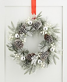 Chalet You Stay, Pinecone & Silver Ornament Wreath, Created for Macy's