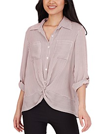 Juniors' Striped Twist-Front Shirt