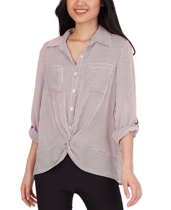BCX Juniors' Striped Twist-Front Shirt