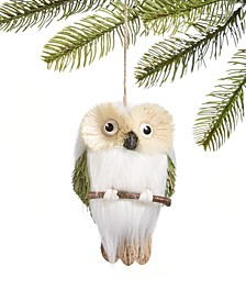 Birds & Boughs Brown and White Owl Ornament, Created for Macy's