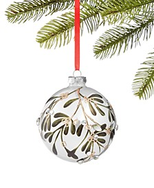 Birds & Boughs Pearlized Ball with Leaves Ornament, Created for Macy's
