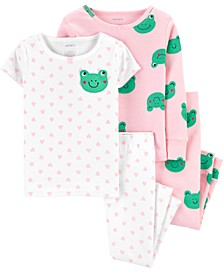 Baby Girls 4-Pc. Frog-Print Cotton Pajamas