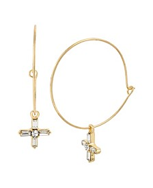 Stone Cross Charm Hoop Earrings
