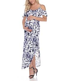 Women's Maternity Cold Shoulder Tie-Dye Maxi Dress