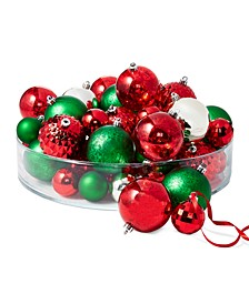 Christmas Cheer Shatterproof Red, Green & Gold Ornaments, Set of 50, Created for Macy's