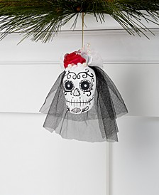 Day of the Dead, Skull with Fabric Veil Ornament, Created for Macy's