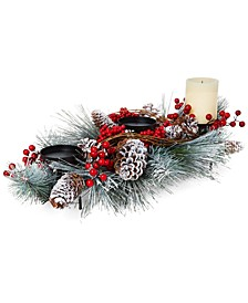 Farmhouse Snowy Pinecone Candle Holder Centerpiece, Created for Macy's
