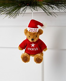Macy's Plush Bear in Santa Hat Ornament, Created for Macy's