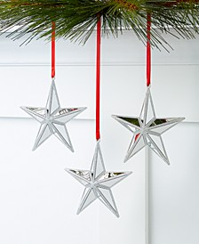 Shine Bright Set of 3 Silver Star Ornaments, Created for Macy's