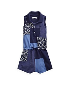 폴로 랄프로렌 여아용 아기 룸퍼 Polo Ralph Lauren Baby Girls Patchwork Romper,Navy Multi
