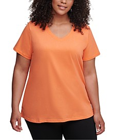Plus Size Logo Patch V-Neck T-Shirt